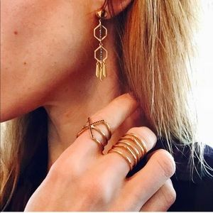 Stella & Dot Terra Gold & Pave Dangle Earrings